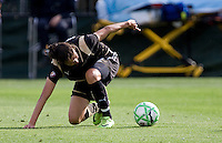 Christine Sinclair tries to maintain control from the ground. FC Gold Pride defeated Sky Blue FC 1-0 at Buck Shaw Stadium in Santa Clara, California on May 3, 2009.