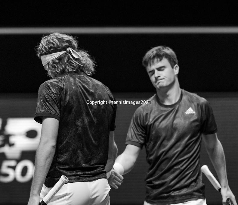 Rotterdam, The Netherlands, 5 march  2021, ABNAMRO World Tennis Tournament, Ahoy,  Quarter final: Petros Tsitsipas (GRE) / Stefanos Tsitsipas (GRE).<br /> Photo: www.tennisimages.com/henkkoster