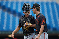 Catcher Jaime Ferrer (left) and pitcher Karson Ligon (right) playing for the San Francisco Giants scout team walk off the field between innings of game eleven during the East Coast Pro Showcase at the Hoover Met Complex on August 5, 2020 in Hoover, AL. (Brian Westerholt/Four Seam Images)