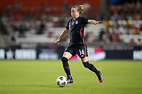 HOUSTON, TX - JUNE 13: Emily Sonnett #14 of the United States dribbles with the ball during a game between Jamaica and USWNT at BBVA Stadium on June 13, 2021 in Houston, Texas.