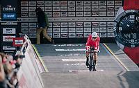 defending champion Mikkel Bjerg (DEN) pushing off the start ramp<br /> <br /> MEN UNDER 23 INDIVIDUAL TIME TRIAL<br /> Hall-Wattens to Innsbruck: 27.8 km<br /> <br /> UCI 2018 Road World Championships<br /> Innsbruck - Tirol / Austria
