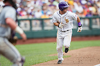 LSU Tigers shortstop Alex Bregman (8) heads home against the TCU Horned Frogs in the NCAA College World Series on June 14, 2015 at TD Ameritrade Park in Omaha, Nebraska. TCU defeated LSU 10-3. (Andrew Woolley/Four Seam Images)