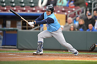 Colorado Springs Sky Sox first baseman Ji-Man Choi (45) swings at a pitch against the Omaha Storm Chasers at Werner Park on April 5, 2018 in Omaha, Nebraska. The Sky Sox won 3-1.  (Dennis Hubbard/Four Seam Images)