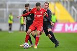 v.li.: Dominik Schad (Kaiserslautern, 20) Leon Dajaku (Bayern München, FCB, 7) Marlon Ritter (Kaiserslautern, 7) im Zweikampf, Duell, duel, tackle, Dynamik, Action, Aktion beim Spiel in der 3. Liga, FC Bayern München II -1. FC Kaiserslautern.<br /> <br /> Foto © PIX-Sportfotos *** Foto ist honorarpflichtig! *** Auf Anfrage in hoeherer Qualitaet/Aufloesung. Belegexemplar erbeten. Veroeffentlichung ausschliesslich fuer journalistisch-publizistische Zwecke. For editorial use only. DFL regulations prohibit any use of photographs as image sequences and/or quasi-video.