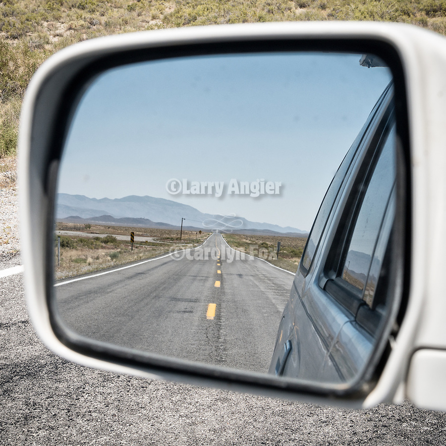 Empty highway in the mirror, Gabbs Valley, Nev.