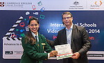 11 Feburary 2015, New Delhi, India: Australian High Commissioner to India Mr. Patrick Suckling presenting certificates and prizes to student  winners of the Digital Business section India International Video Competition run by Austrade in conjunction with Cambridge English and major sponsors Singapore Airlines presented at the Australian High Commission, New Delhi.  Picture by Graham Crouch/Austrade