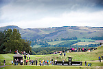 Pic Kenny Smith...... Tel 07809 450119.Johnnie Walker Championship, PGA Course Gleneagles, Day 2..George Coetzee tees off from the 4th with the picturesque Perthsire hills as a backdrop