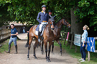 AUS-Christopher Burton and Clever Luis photobomb NZL-Dan Jocelyn and Lissyegan Rory after the Dressage for the CCI-S 4*. 2021 GBR-Bicton International Horse Trials. Devon. Great Britain. Thursday 10 June. Copyright Photo: Libby Law Photography