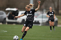 LOUISVILLE, KY - MARCH 13: Freja Olofsson #8 of Racing Louisville FC passes the ball during warmups before a game between West Virginia University and Racing Louisville FC at Thurman Hutchins Park on March 13, 2021 in Louisville, Kentucky.