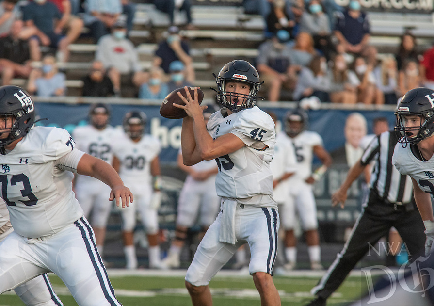 Har-Ber quarterback Matrick Samuel looks for a receiver in the first half of Friday's game at Greenwood.