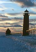 Grand Haven South Pier Lighthouse, Lake Michigan, Lower Peninsula of Michigan at sunset.
