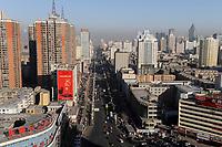 CHINA province Xinjiang city Urumqi , due to high migration of Han chinese the muslim uyghur people are a minority today, the old uyghur town is demolished and replaced by new building towers / CHINA Provinz Xinjiang , Stadt Ueruemqi , in Urumqi lebt das muslimische Turkvolk der Uiguren, durch massive Zuwanderung von Han Chinesen nur noch eine Minderheit, die uigurische Altstadt wurde durch Hochhauser ersetzt