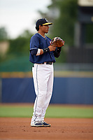 Lake County Captains third baseman Jorma Rodriguez (47) during the second game of a doubleheader against the West Michigan Whitecaps on August 6, 2017 at Classic Park in Eastlake, Ohio.  West Michigan defeated Lake County 9-0.  (Mike Janes/Four Seam Images)