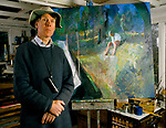 Sargy Mann blind painter in his Bungay Studio 1996. 1990s UK