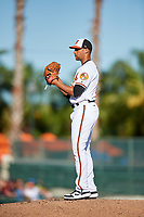 Baltimore Orioles relief pitcher Branden Kline (52) gets ready to deliver a pitch during a Grapefruit League Spring Training game against the Detroit Tigers on March 3, 2019 at Ed Smith Stadium in Sarasota, Florida.  Baltimore defeated Detroit 7-5.  (Mike Janes/Four Seam Images)