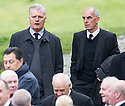 Former players Gordon McQueen and Joe Jordan arrive at Mortonhall Crematorium for the funeral service of Sandy Jardine.