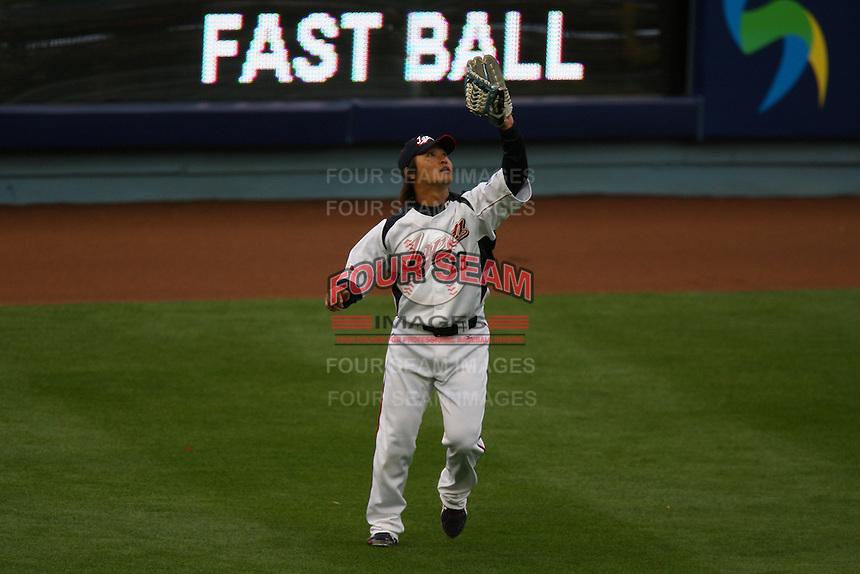 Norichika Aoki of Japan during a game against the United States at the World Baseball Classic at Dodger Stadium on March 22, 2009 in Los Angeles, California. (Larry Goren/Four Seam Images)