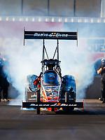Feb 1, 2018; Chandler, AZ, USA; NHRA top fuel driver Clay Millican during Nitro Spring Training pre season testing at Wild Horse Pass Motorsports Park. Mandatory Credit: Mark J. Rebilas-USA TODAY Sports