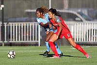 Piscataway, NJ - Saturday June 3, 2017:Kayla Mills, Nadia Nadim during a regular season National Women's Soccer League (NWSL) match between Sky Blue FC and the Portland Thorns at Yurcak Field.  Portland defeated Sky Blue, 2-0.