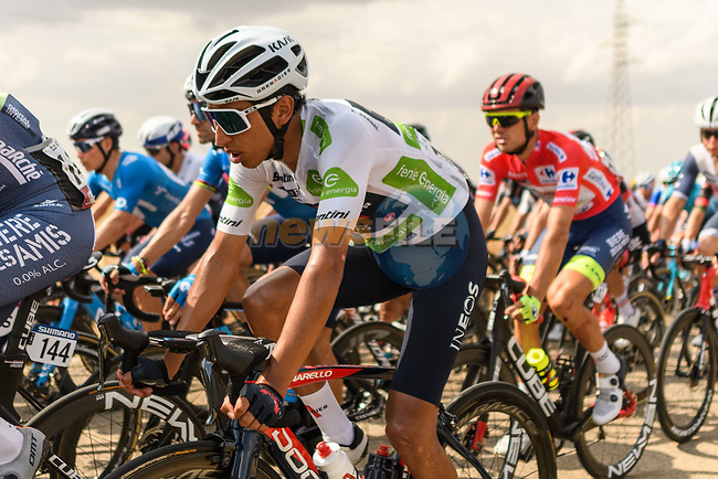 White Jersey Egan Bernal (COL) Ineos Grenadiers chat during Stage 5 of La Vuelta d'Espana 2021, running 184.4km from Tarancón to Albacete, Spain. 18th August 2021.    <br /> Picture: Luis Angel Gomez/Photogomezsport | Cyclefile<br /> <br /> All photos usage must carry mandatory copyright credit (© Cyclefile | Luis Angel Gomez/Photogomezsport)