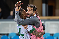 SAN JOSE, CA - MAY 15: Marvin Loria #44 of the Portland Timbers celebrates his goal with Diego Valeri #8 of the Portland Timbers during a game between San Jose Earthquakes and Portland Timbers at PayPal Park on May 15, 2021 in San Jose, California.