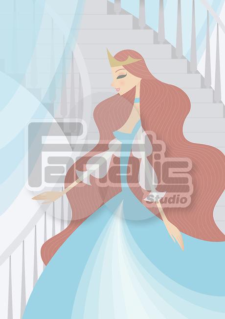 Princess moving down stairs