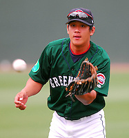 6 May 2007: Chih-Hsien Chiang from a game between the Greenville Drive, Class A affiliate of the Boston Red Sox, and the Augusta GreenJackets at West End Field in Greenville, S.C. Photo by:  Tom Priddy/Four Seam Images