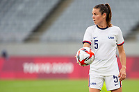 TOKYO, JAPAN - JULY 21: Kelley O'Hara #5 of the United States holds the ball during a game between Sweden and USWNT at Tokyo Stadium on July 21, 2021 in Tokyo, Japan.