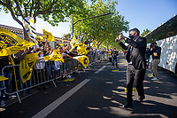 2nd May 2021; Stade Marcel-Deflandre, La Rochelle, France. European Champions Cup Rugby La Rochelle versus Leinster Semi-Final;  Vincent MERLING the President Stade Rochelais outside the stadium celebrating with the fans