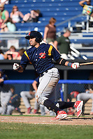 State College Spikes catcher Luis Cruz (4) at bat during a game against the Batavia Muckdogs on June 22, 2014 at Dwyer Stadium in Batavia, New York.  State College defeated Batavia 10-3.  (Mike Janes/Four Seam Images)