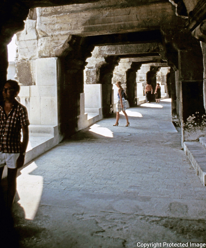 Interior view of colonnade in the Coloseum, Rome Italy