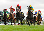 Never Retreat (no. 2), ridden by Shaun Bridgmohan and trained by Chris Block, wins the 23rd running of the grade 2 Jenny Wiley Stakes for fillies and mares four years old and upward on April 16, 2011 at Keeneland in Lexington, Kentucky.  (Bob Mayberger/Eclipse Sportswire)