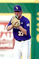 LSU Tigers pitcher Ryan Eades #37 prepares to face the Mississippi State Bulldogs before the NCAA baseball game on March 17, 2012 at Alex Box Stadium in Baton Rouge, Louisiana. The 10th-ranked LSU Tigers beat #21 Mississippi State, 4-3. (Andrew Woolley / Four Seam Images).