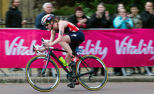 31 MAY 2015 - LONDON, GBR - Non Stanford (GBR)from Great Britain attempts to catch the leaders on the bike during the elite women's 2015 ITU World Triathlon Series round in Hyde Park, London, Great Britain (PHOTO COPYRIGHT © 2015 NIGEL FARROW, ALL RIGHTS RESERVED)