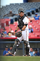 Jose Trevino (5) of the High Desert Mavericks in the field at catcher during a game against the Rancho Cucamonga Quakes at Heritage Field on May 8, 2016 in Adelanto, California. Rancho Cucamonga defeated High Desert, 11-5. (Larry Goren/Four Seam Images)