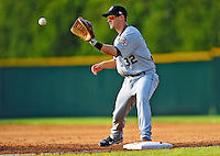 2 July 2011: Tri-City ValleyCats infielder Zachary Johnson in action against the Vermont Lake Monsters at Centennial Field in Burlington, Vermont. The Lake Monsters rallied from a 4-2 deficit to defeat the ValletCats 7-4 in NY Penn League action. Mandatory Credit: Ed Wolfstein Photo