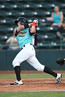 Josh Jung (15) of Las Llamas de Hickory follows through on his swing during a game against Los Rapidos de Kannapolis at L.P. Frans Stadium on July 17, 2019 in Hickory, North Carolina. The Llamas defeated the Rapidos 7-5. (Tracy Proffitt/Four Seam Images)