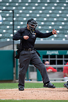 Home plate umpire Charlie Ramos during an Eastern League game between the Indianapolis Indians and Columbus Clippers on April 30, 2019 at Victory Field in Indianapolis, Indiana. Columbus defeated Indianapolis 7-6. (Zachary Lucy/Four Seam Images)