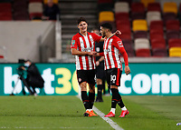1st October 2020; Brentford Community Stadium, London, England; English Football League Cup, Carabao Cup Football, Brentford FC versus Fulham; Said Benrahma of Brentford celebrates with Christian Norgaard after scoring his sides 3rd goal in the 77th minute to make it 3-0