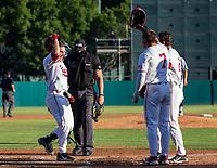 STANFORD, CA - JUNE 5: Kody Huff, Brock Jones, Tim Tawa during a game between UC Irvine and Stanford Baseball at Sunken Diamond on June 5, 2021 in Stanford, California.