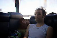 Roubaix make-up: post-race happy face by Luka Mezgec (SVN/Orica-GreenEDGE) back on the teambus<br /> <br /> 114th Paris-Roubaix 2016