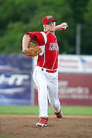 Batavia Muckdogs pitcher Lee Stoppelman #47 during a NY-Penn League game against the Williamsport Crosscutters at Dwyer Stadium on August 12, 2012 in Batavia, New York.  Batavia defeated Williamsport 7-2.  (Mike Janes/Four Seam Images)