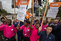 The GMB Trade Union organise a protest of cleaners and porters working at Middlesex Hospital hospital over cuts to staff and breaks. The contract has recently been taken over by multinational Medirest with changes being brought in withut consultation. 21-9-17
