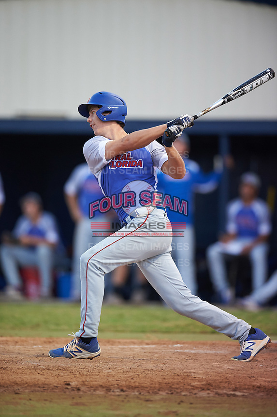 College of Central Florida Patriots Blake Marabell (11) at bat during a game against the SCF Manatees on February 8, 2017 at Robert C. Wynn Field in Bradenton, Florida.  SCF defeated Central Florida 6-5 in eleven innings.  (Mike Janes/Four Seam Images)