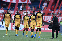 CALI - COLOMBIA, 15-02-2020: Jugadores del América abandonan el campo de juego al intermendio durante partido por la fecha 5 de la Liga BetPlay DIMAYOR I 2020 entre América de Cali y Deportivo Independiente Medellín jugado en el estadio Pascual Guerrero de la ciudad de Cali. / Players of Medellin leave the field at halftime during match for the for the date 5 as part of BetPlay DIMAYOR League I 2020 between America de Cali and Deportivo Independiente Medellin played at Pascual Guerrero stadium in Cali. Photo: VizzorImage / Gabriel Aponte / Staff