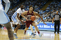 CHAPEL HILL, NC - FEBRUARY 1: Derryck Thornton #11 of Boston College drives past Brandon Robinson #4 of the University of North Carolina during a game between Boston College and North Carolina at Dean E. Smith Center on February 1, 2020 in Chapel Hill, North Carolina.