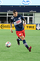 FOXBOROUGH, MA - MAY 22: Gustavo Bou #7 of New England Revolution during a game between New York Red Bulls and New England Revolution at Gillette Stadium on May 22, 2021 in Foxborough, Massachusetts.