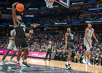 WASHINGTON, DC - FEBRUARY 19: Jamorko Pickett #1 of Georgetown watches as his pass is intercepted by Maliek White #4 of Providence during a game between Providence and Georgetown at Capital One Arena on February 19, 2020 in Washington, DC.