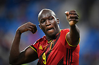 ST PETERSBURG, RUSSIA - JUNE 12 :  Romelu Lukaku forward of Belgium celebrates scoring the 3-0  while shooting an arrow pictured during the 16th UEFA Euro 2020 Championship Group B match between Belgium and Russia on June 12, 2021 in St Petersburg, Russia, 12/06/2021 <br /> Photo Photonews / Panoramic / Insidefoto <br /> ITALY ONLY
