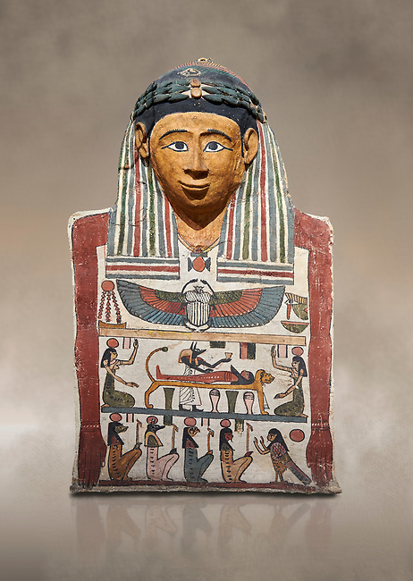 Ancient Egyptian cartonnage mummy mask with mummification scene, Pyolemaic Period, (332-30BC),  Egyptian Museum, Turin. Cat 2250.